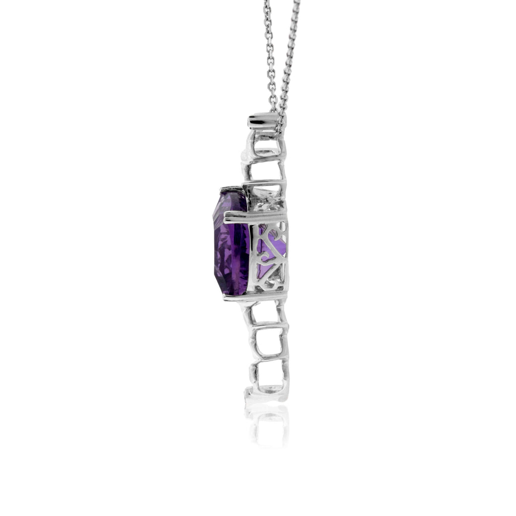 Carved Amethyst and Diamond Geometric Pendant