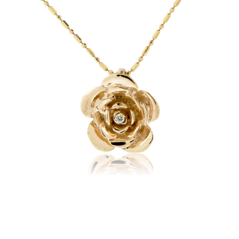 Rose Flower Style and Diamond Pendant