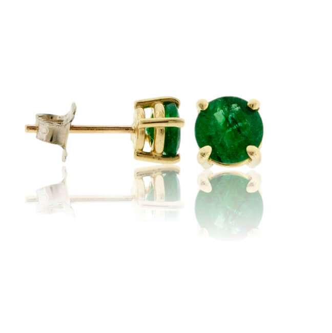 Round Emerald Yellow Gold Stud Earrings