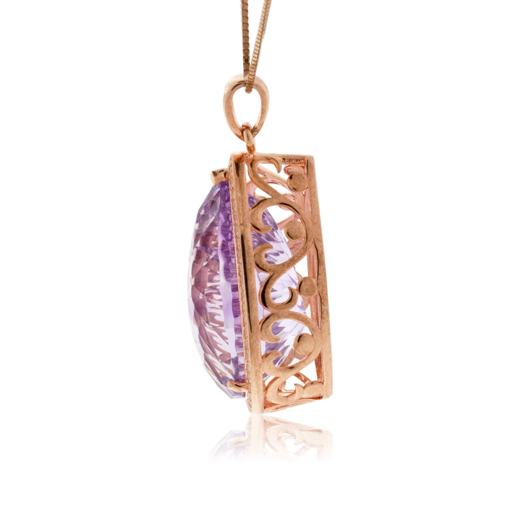 Rose Gold Plated Pear Shape Amethyst Pendant