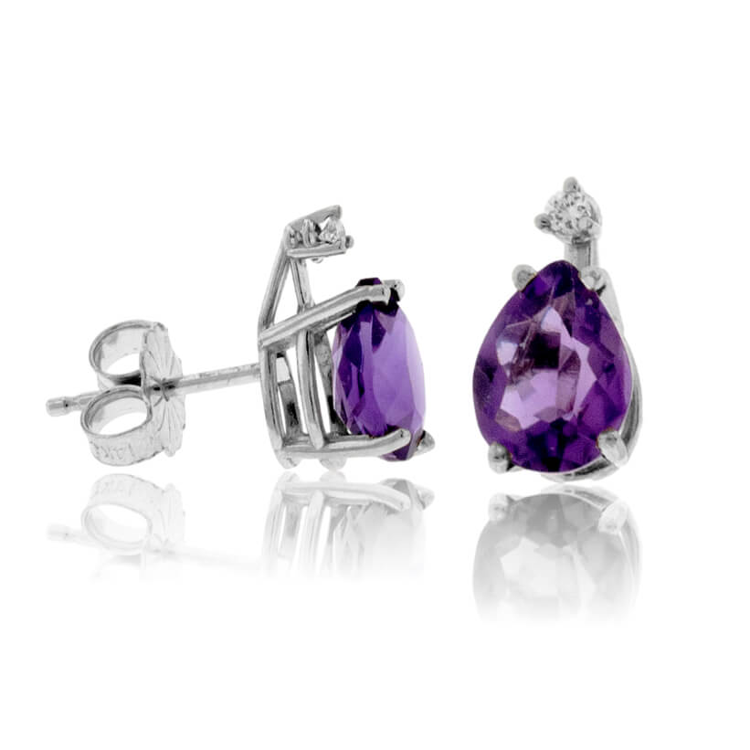 Pear Amethyst Stud Earrings with Single Diamond Accent
