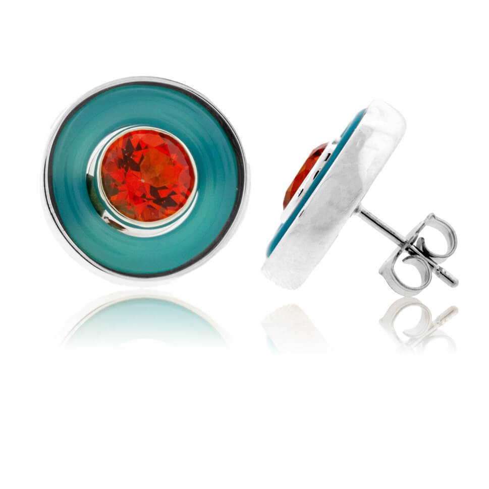 Turquoise Agate Life Saver Earrings with Poppy Topaz in Sterling Silver