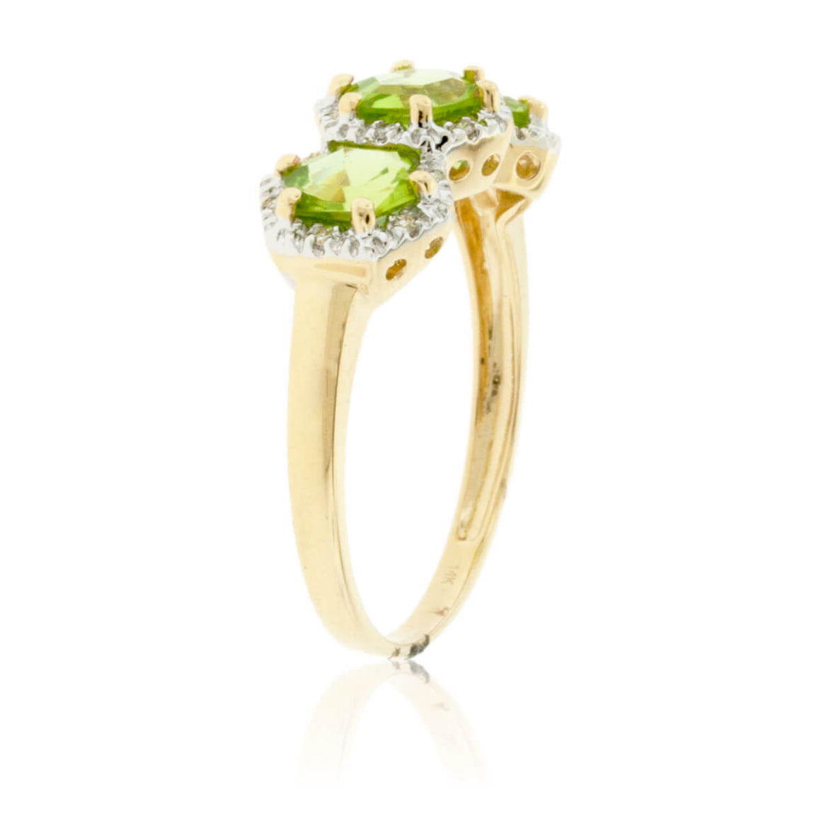 Three Stone Peridot and Diamond Halo Ring