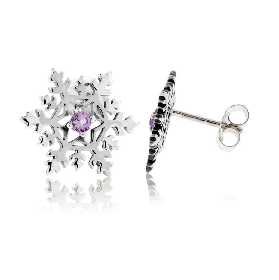 Amethyst Center Snowflake Post Earrings