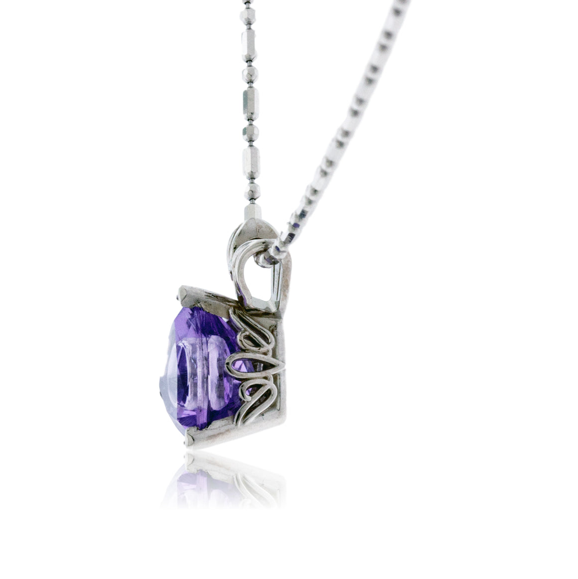 Amethyst Pendant with Diamonds Inset