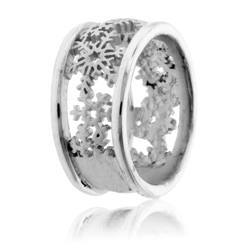Sterling Silver Snowflake Cutout Band