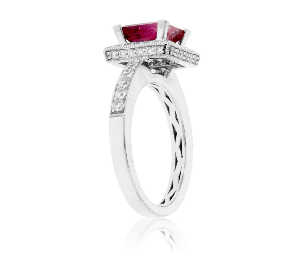 Princess-Cut Red Emerald and Diamond Ring
