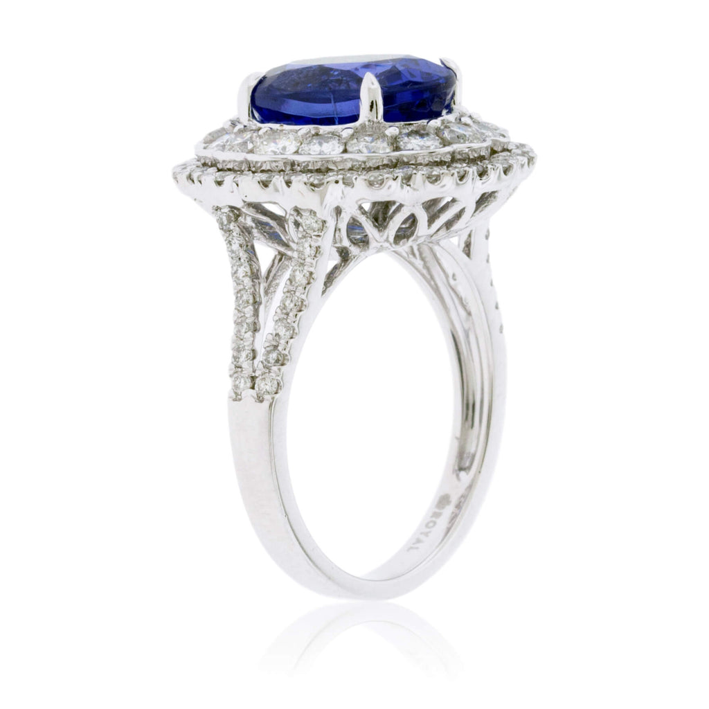 Oval Tanzanite & Double Diamond Halo Scalloped Ring