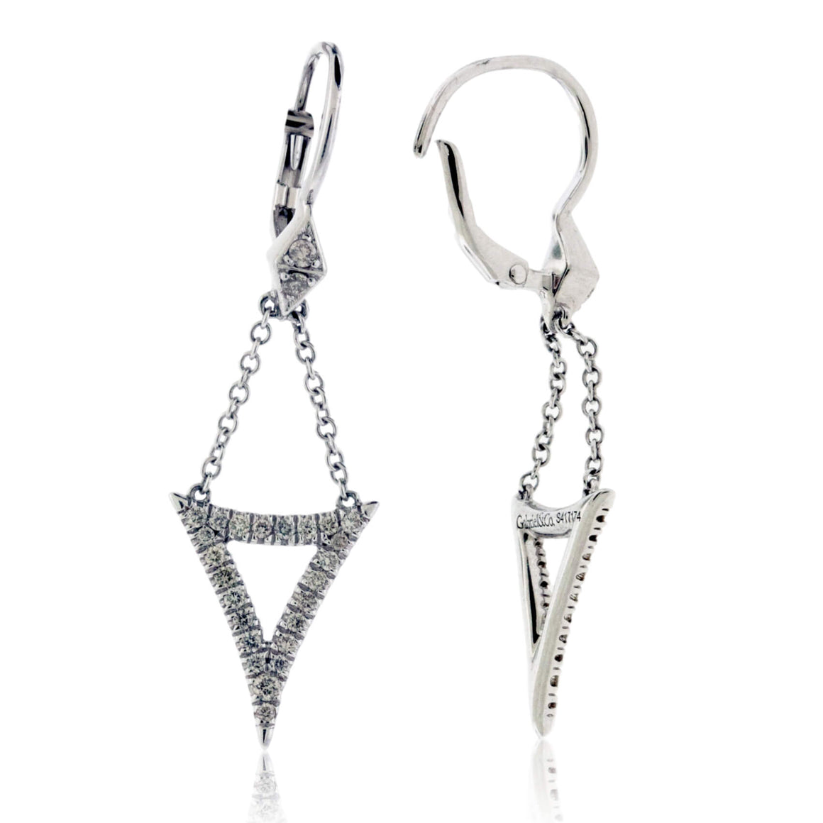 Triangle White Gold Diamond Drop Earrings