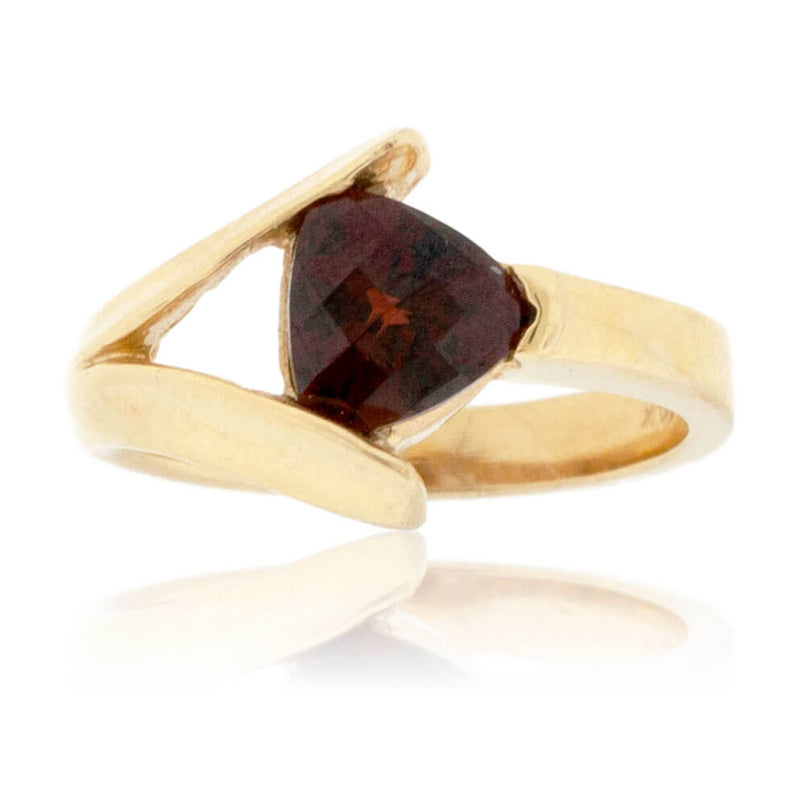 Trillian Shaped Solitaire Garnet Ring