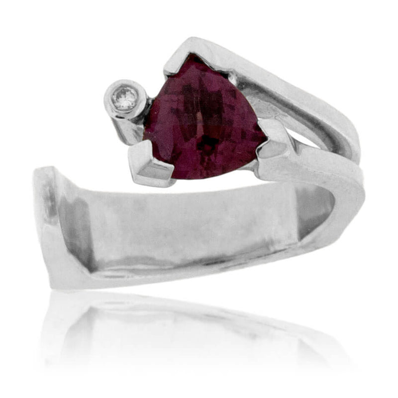 Raspberry Garnet Trillion Ring