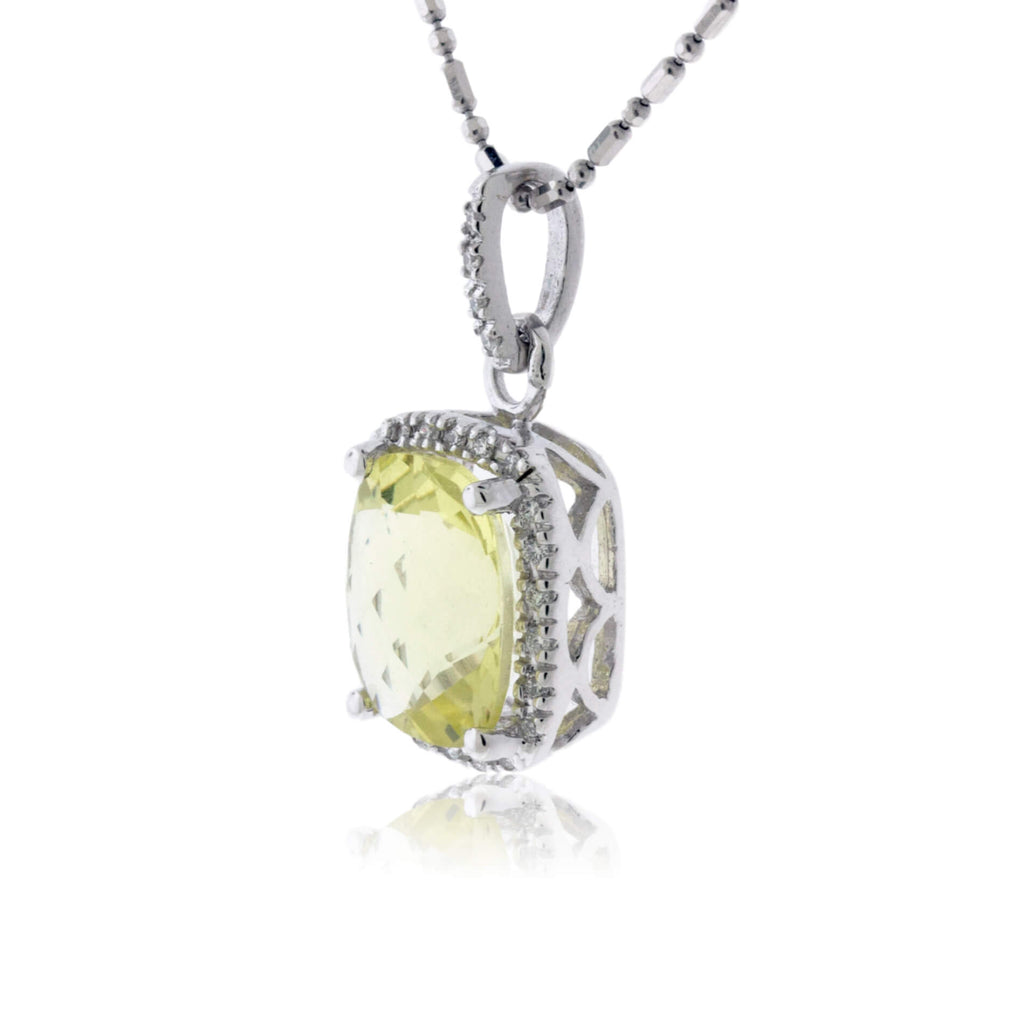 Light Green Peridot & Diamond Halo Pendant