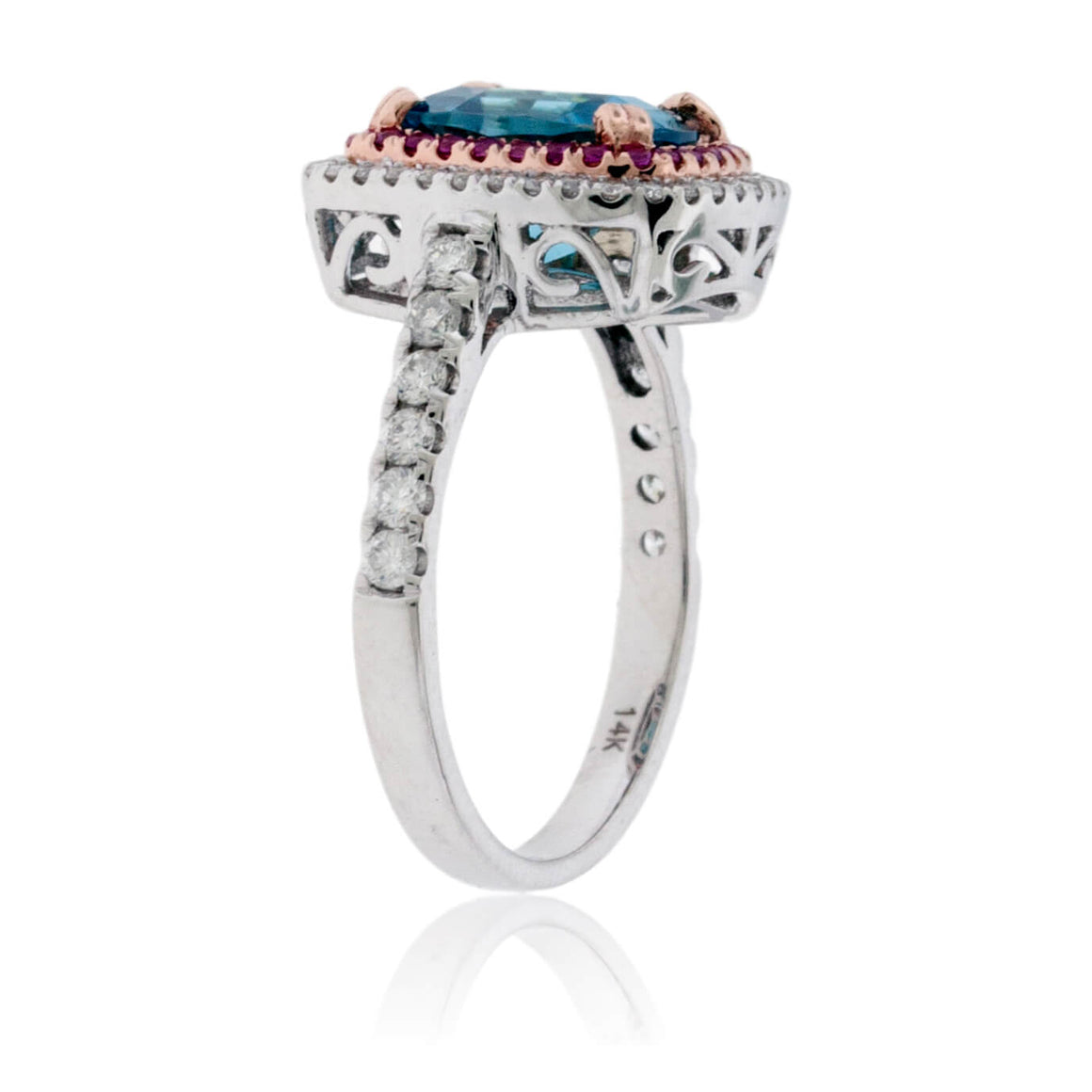 Cushion Blue Zircon with Diamond & Pink Sapphire Double Halo Ring