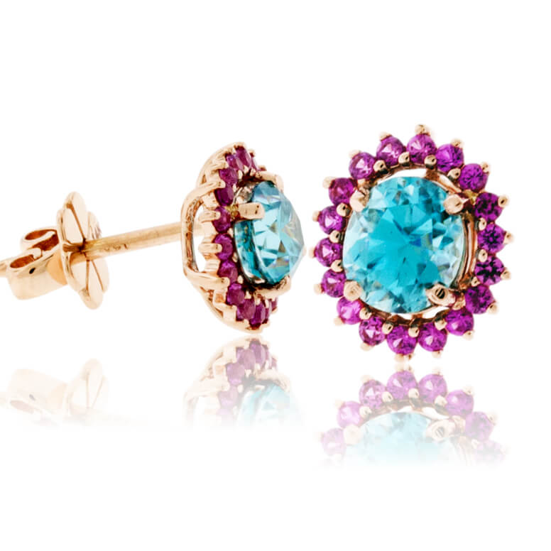 Oval Blue Zircon & Pink Sapphire Classic Halo Post Earrings