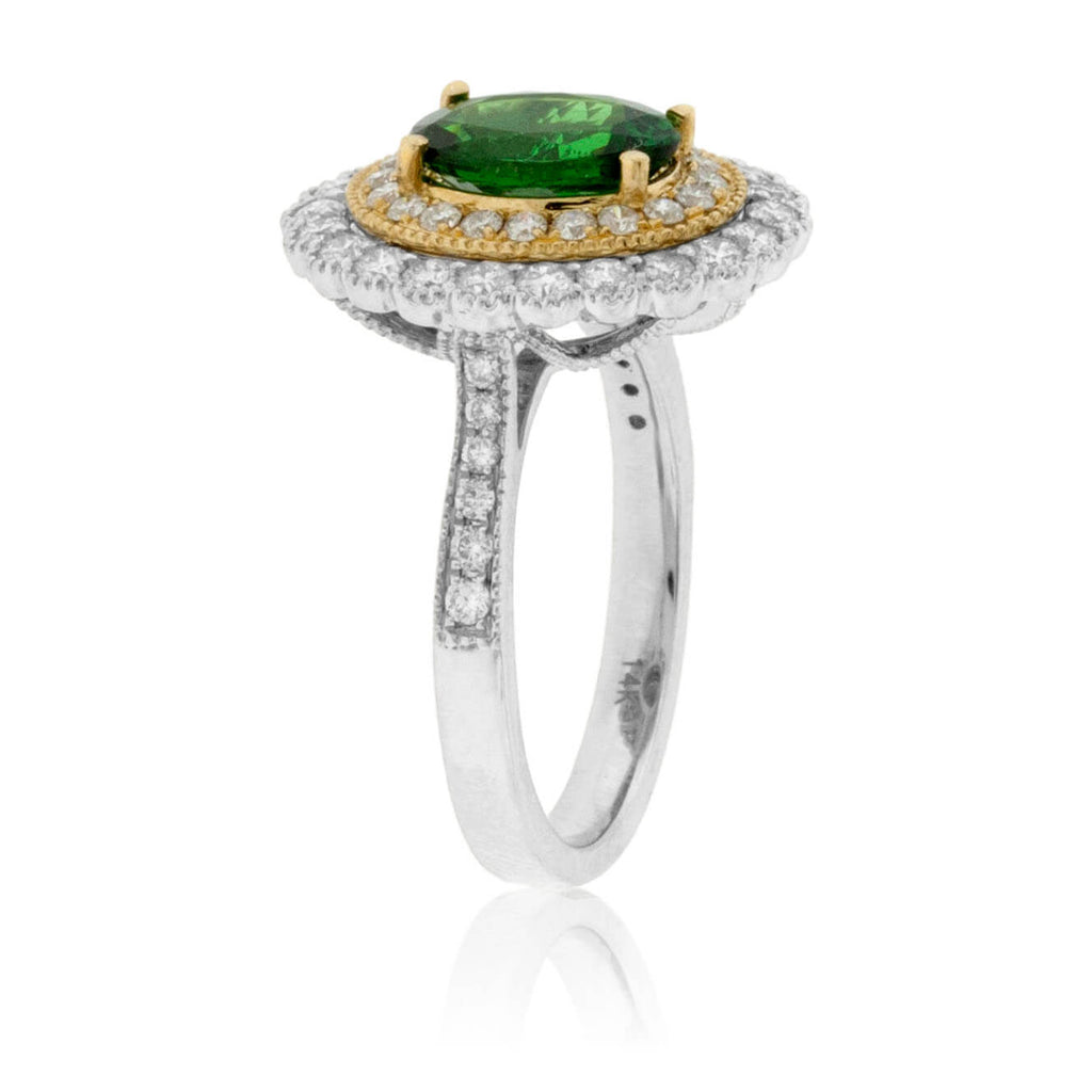 Tsavorite Garnet and Diamond Double Halo Ring