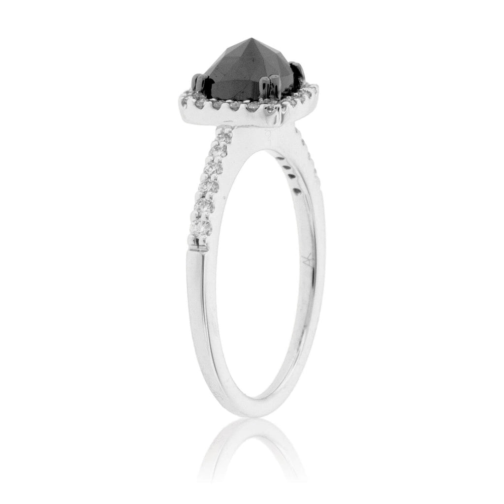 Black Diamond & Diamond Halo Ring