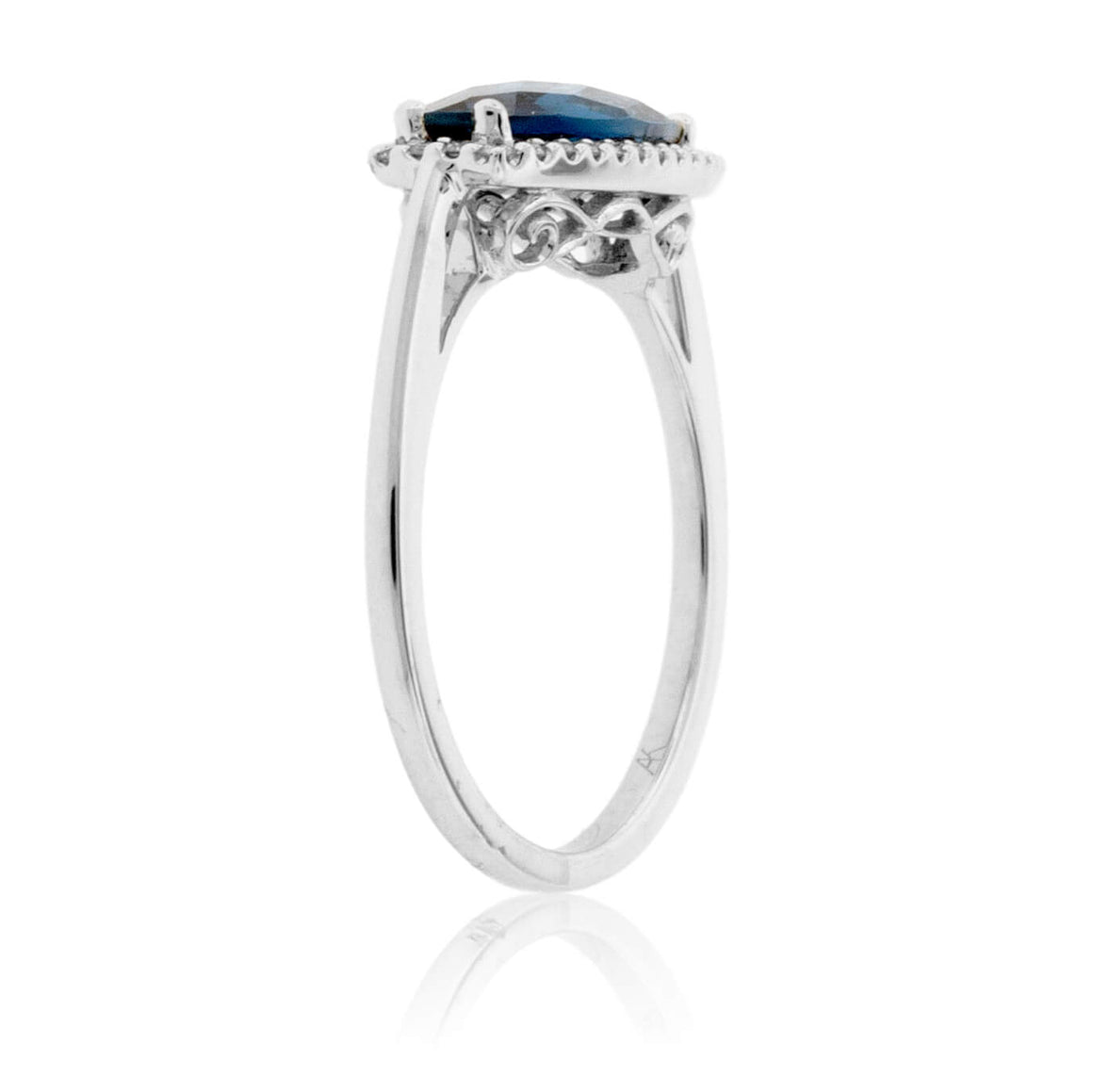 Long Oval London Blue Topaz Filigree Style Ring