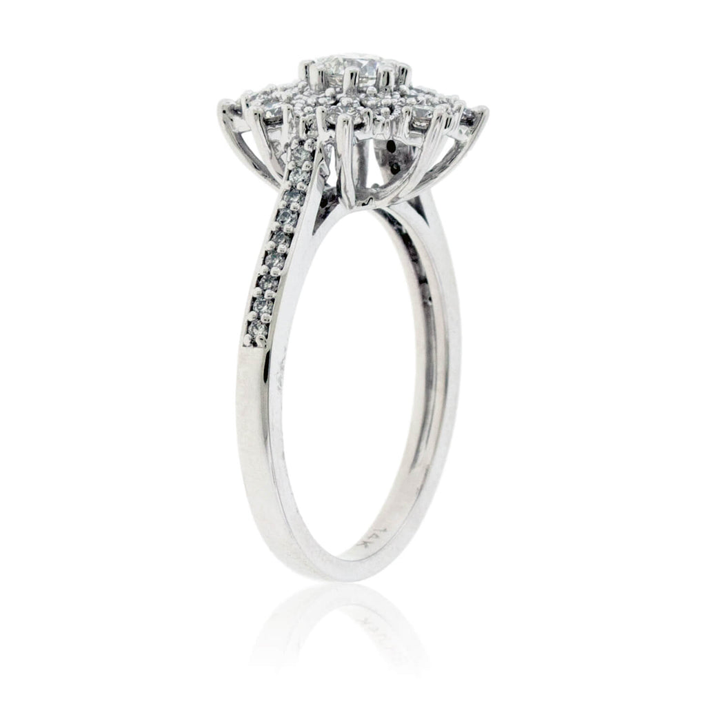 Diamond Cluster Snowflake Style Ring