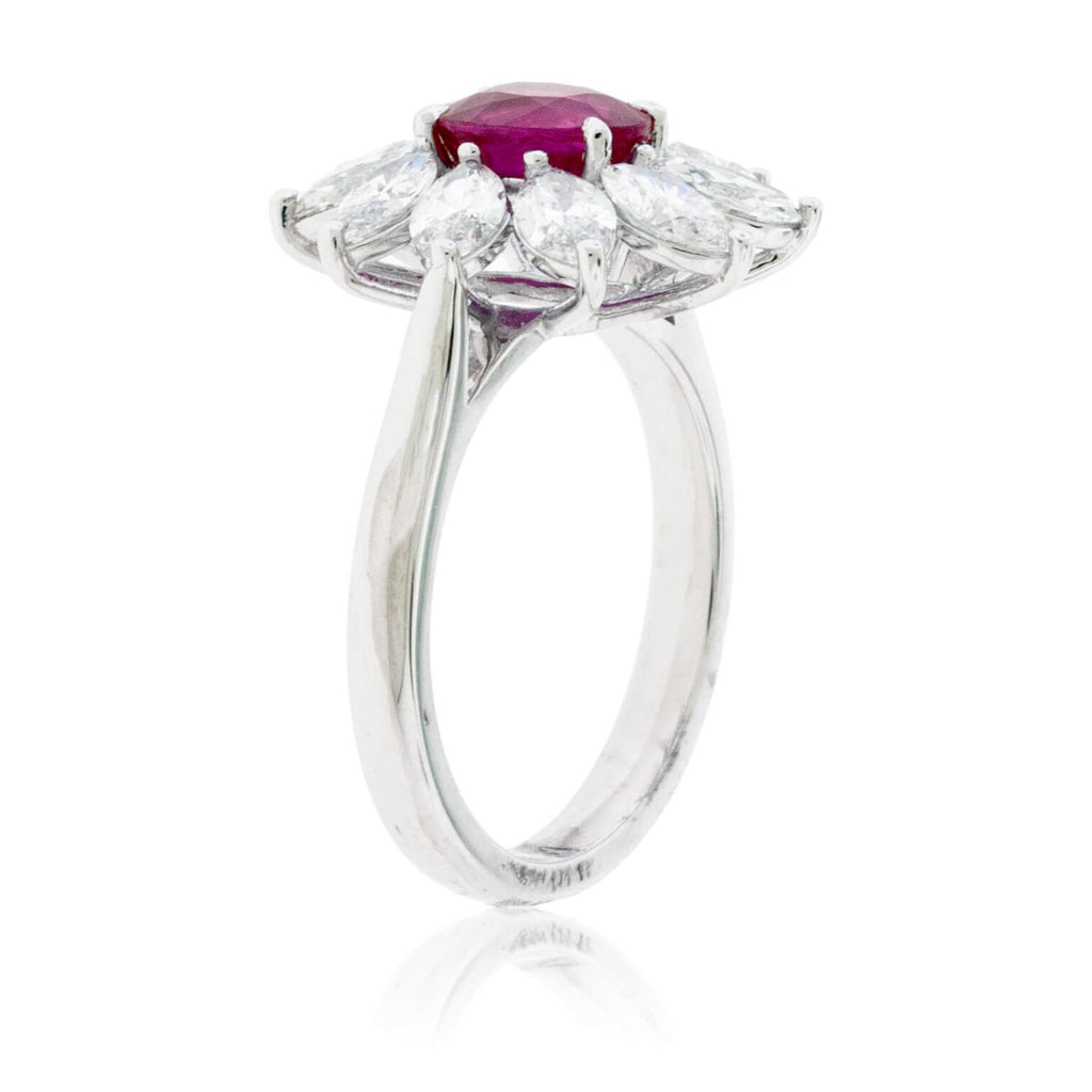 Oval Shaped Ruby and Marquise Diamond Halo Ring