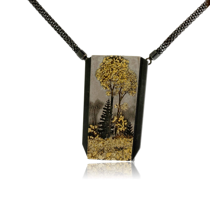 Silver, 18K Gold, & Nugget Gold Trees in the Moon Pendant