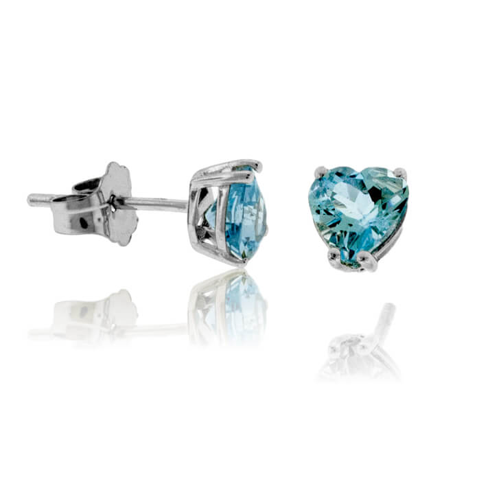 Heart Shaped Cut Aquamarine Stud Earrings