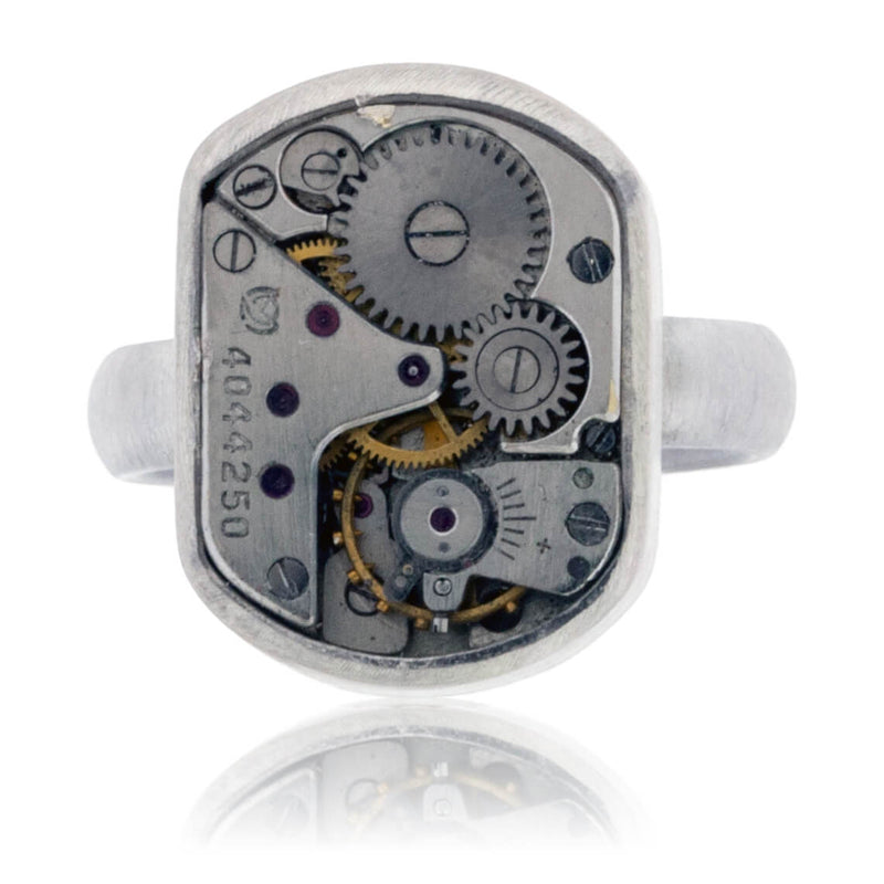 Sterling Silver Steampunk Ring with Watch Movement