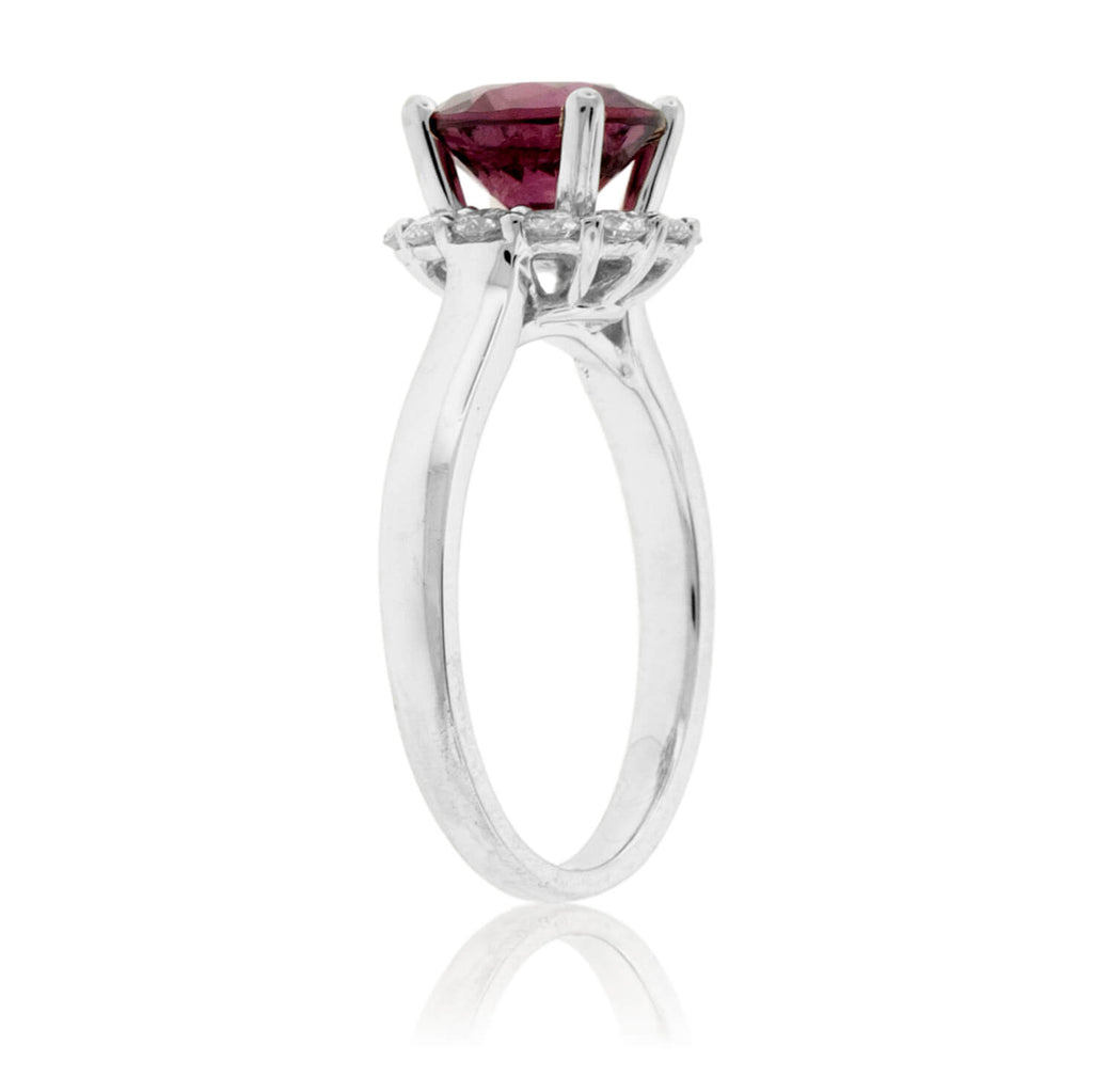 Round Garnet & Diamond Halo Ring