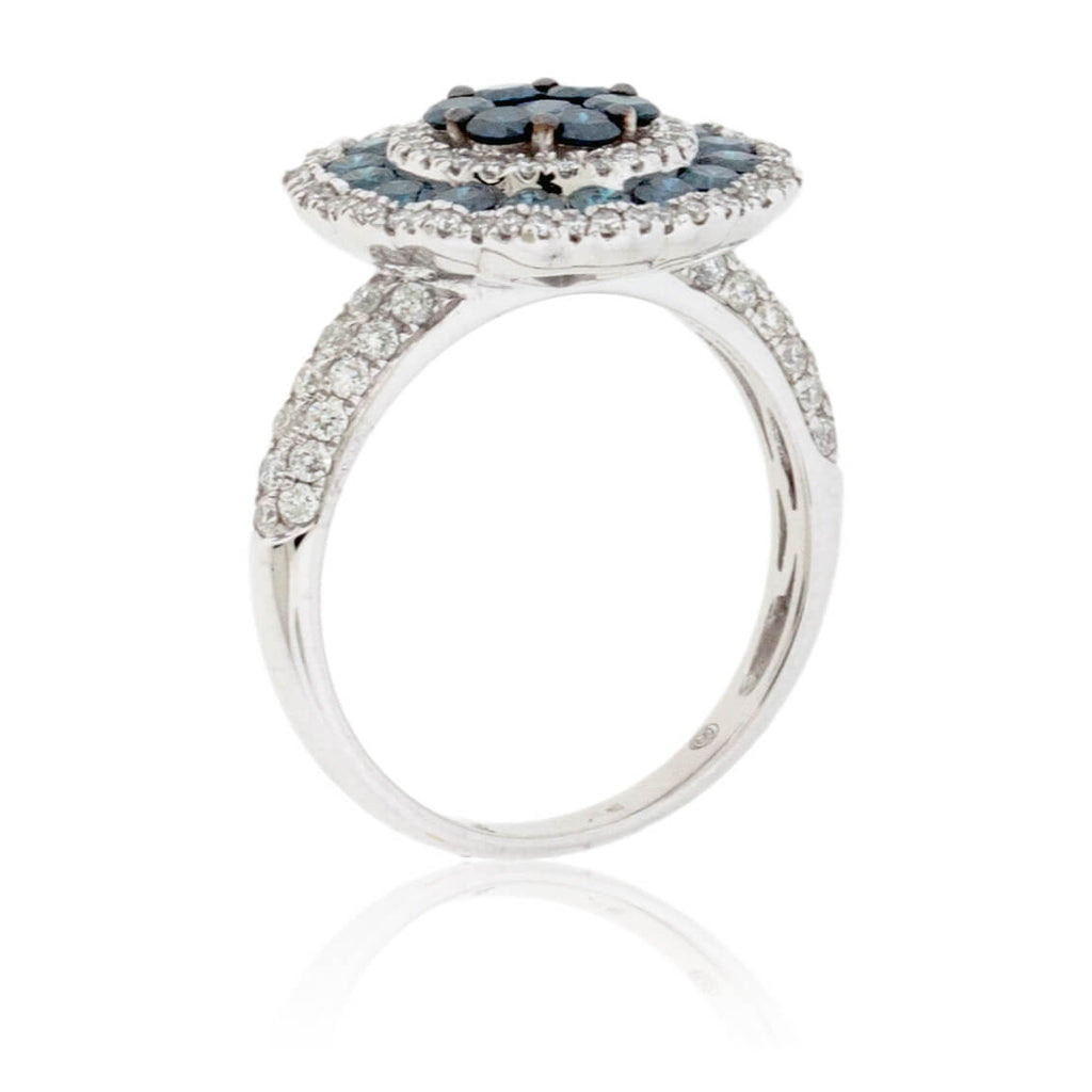 Blue Diamond and Diamond Blooming Halo Style Ring