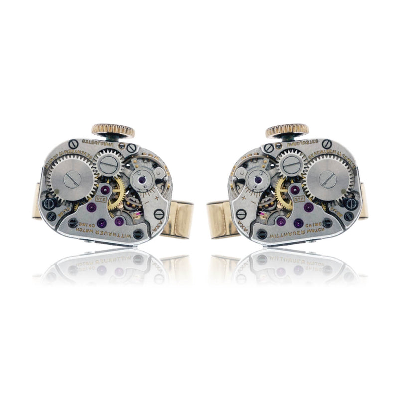 Sterling Silver Watch-Movement Steampunk Style Cuff Links