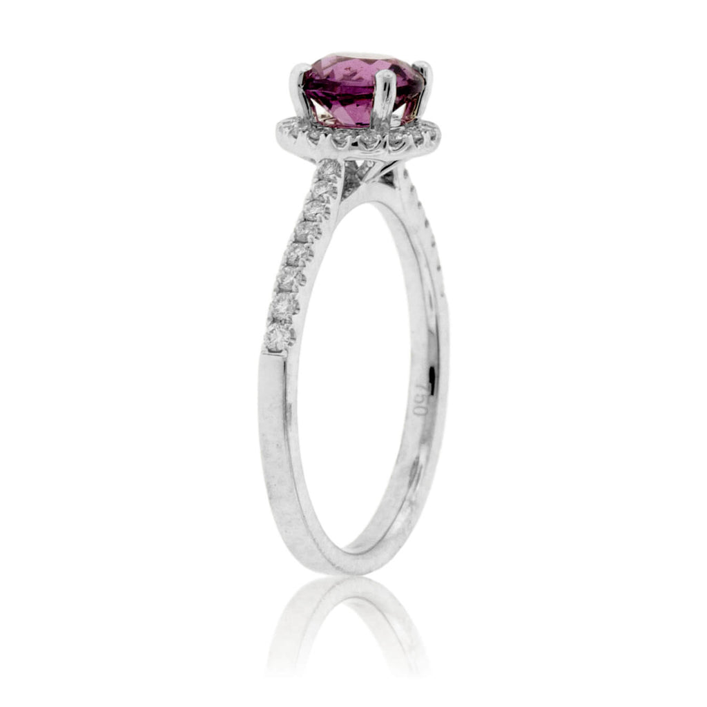 Round Garnet & Diamond Halo & Diamond Lined Shank Ring
