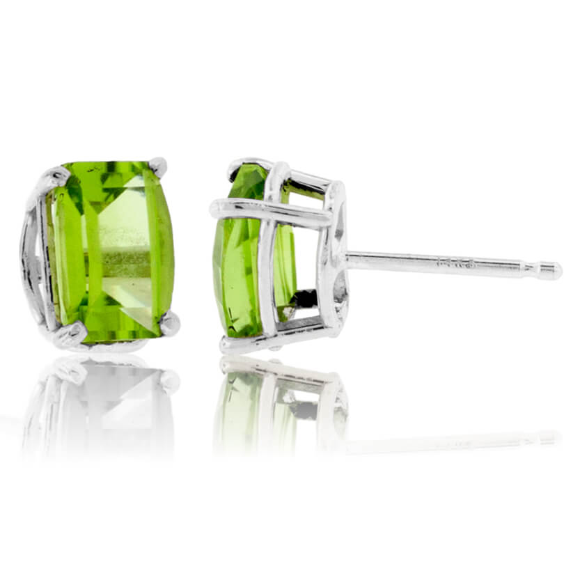 Barrel Cut Peridot Stud Earrings