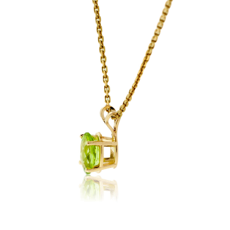 Peridot Oval Shaped Solitaire Pendant