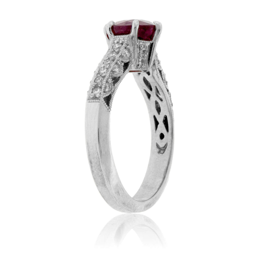 Intricate Glass-Filled Ruby and Diamond Ring