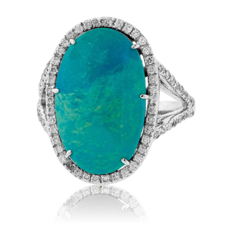 Oval Turquoise Cabochon & Diamond Halo Split Shank Ring