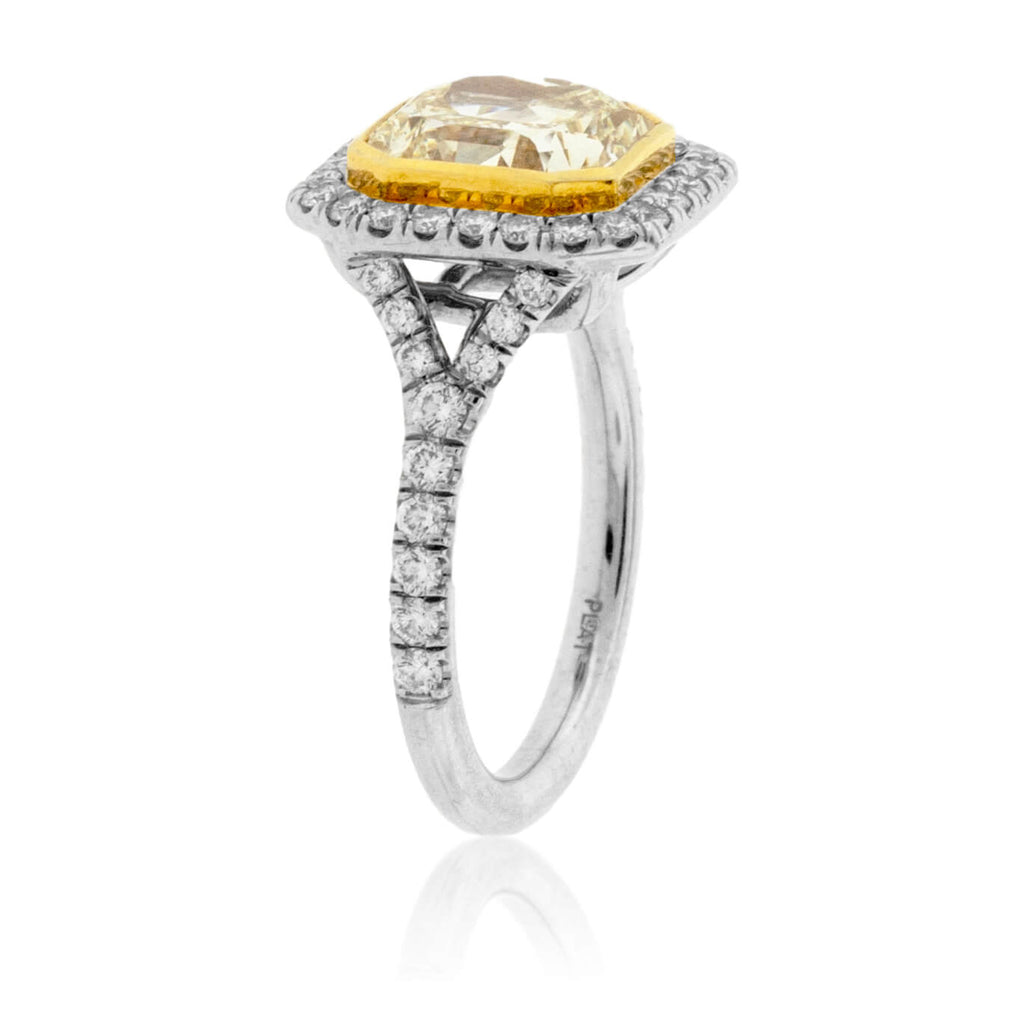 Radiant Cut Fancy Yellow Diamond & Diamond Ring