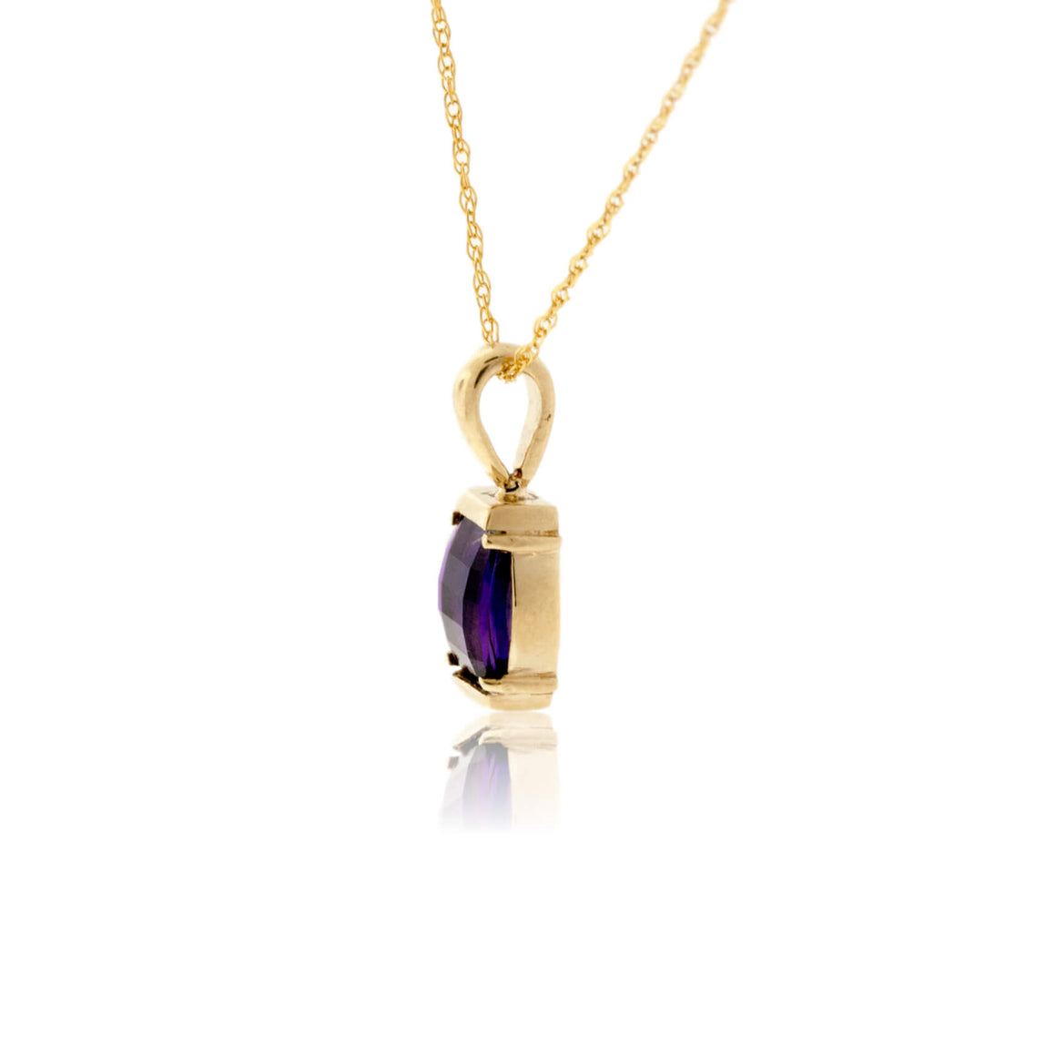 Barrel-Cut Amethyst Solitare Pendant