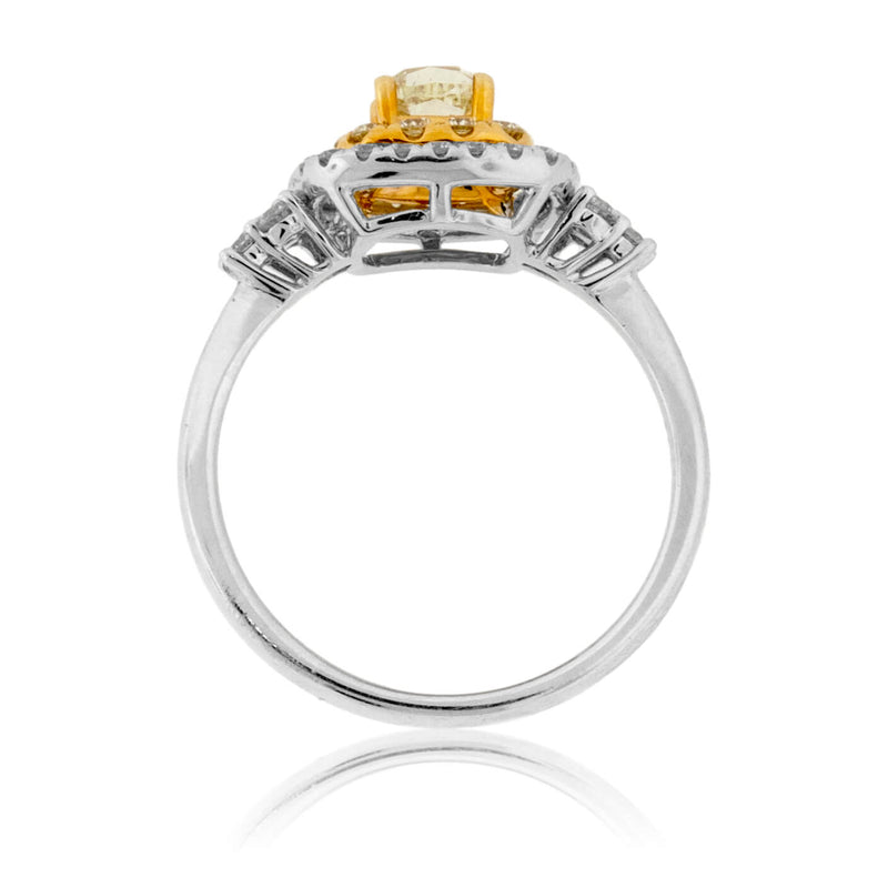 Yellow Diamond Double Halo Style Ring