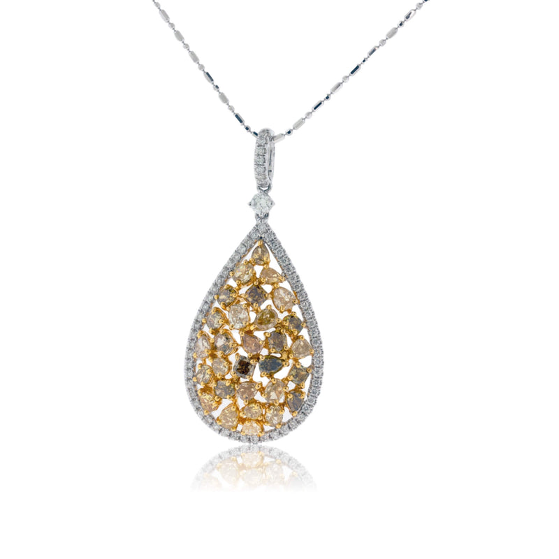 Yellow Diamond Tear Drop with Diamond Halo Necklace