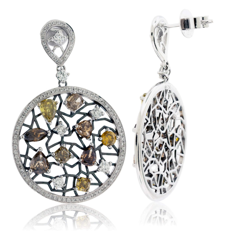 Fancy Color Diamond Circle Dangle Earrings