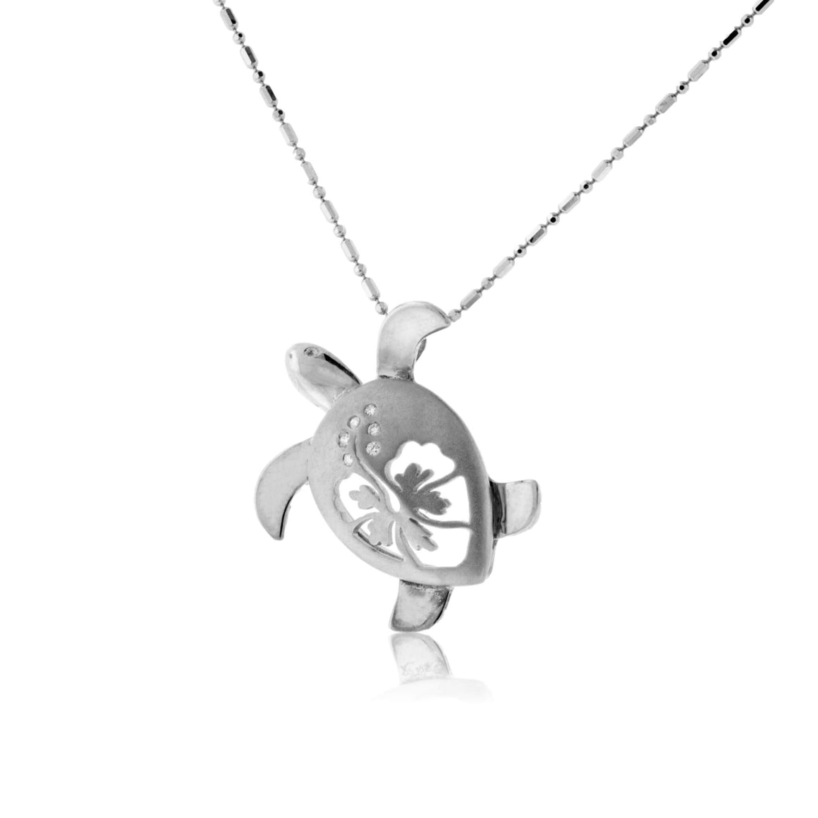 Two Toned Turtle with Hibiscus Flower Pendant