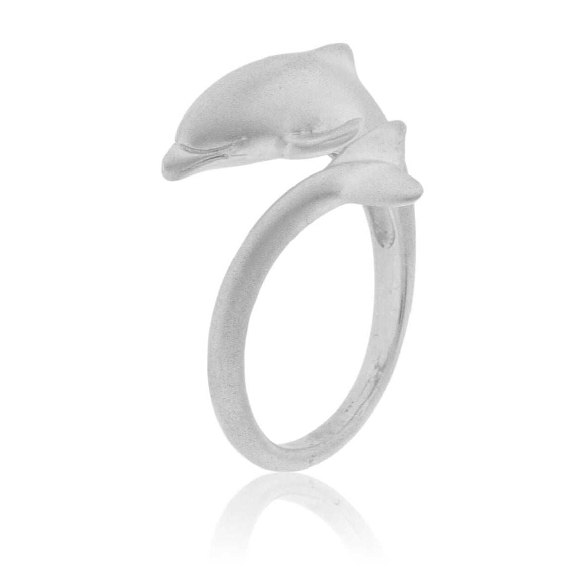 Matte Finish Dolphin Wrap Around Ring