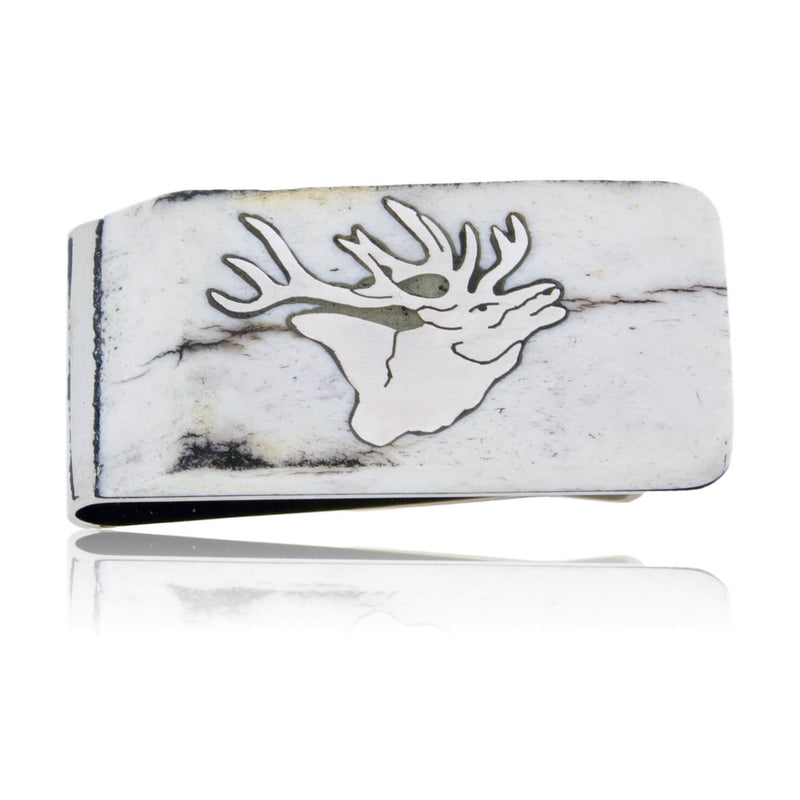 Sterling Silver Elk Inlay & Antler Money Clip