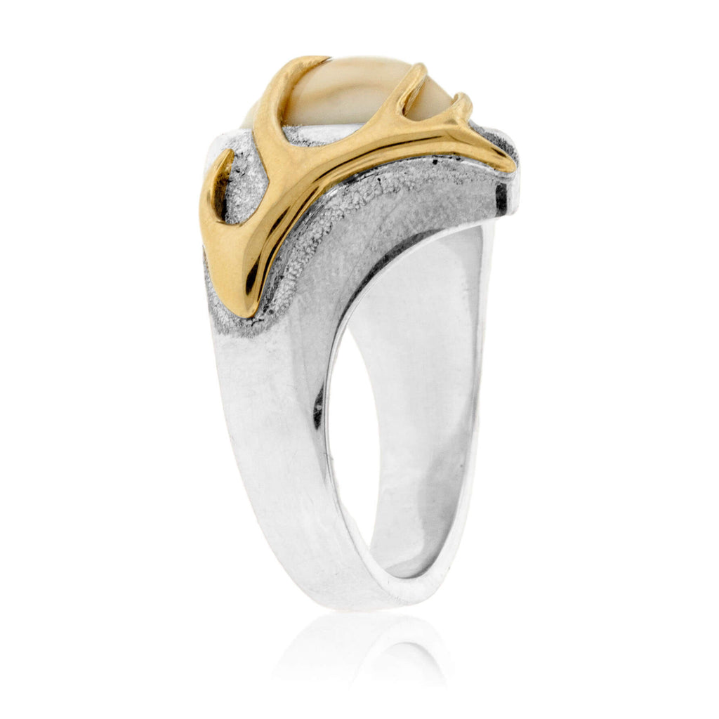 Elk Tooth Ivory Ring & Shell Casing Textured Style Ring