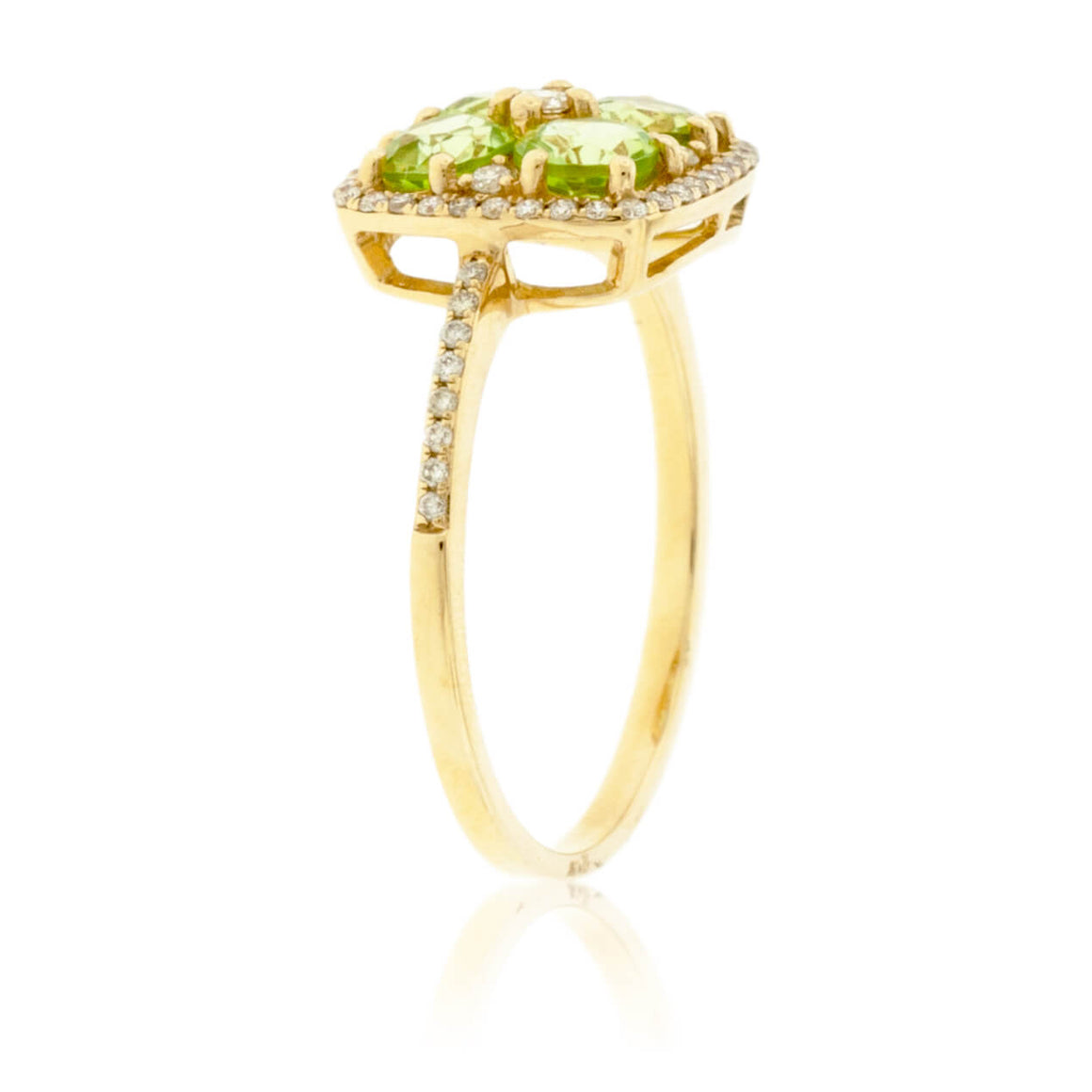 Four Center Stone Peridot & Diamond Ring