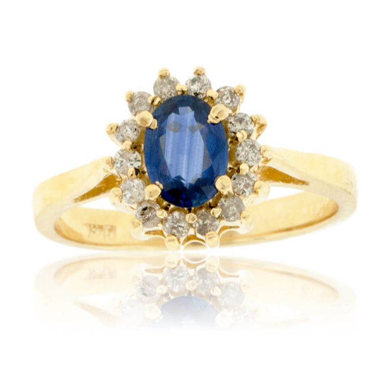 Oval Blue Sapphire & Classic Diamond Halo Ring