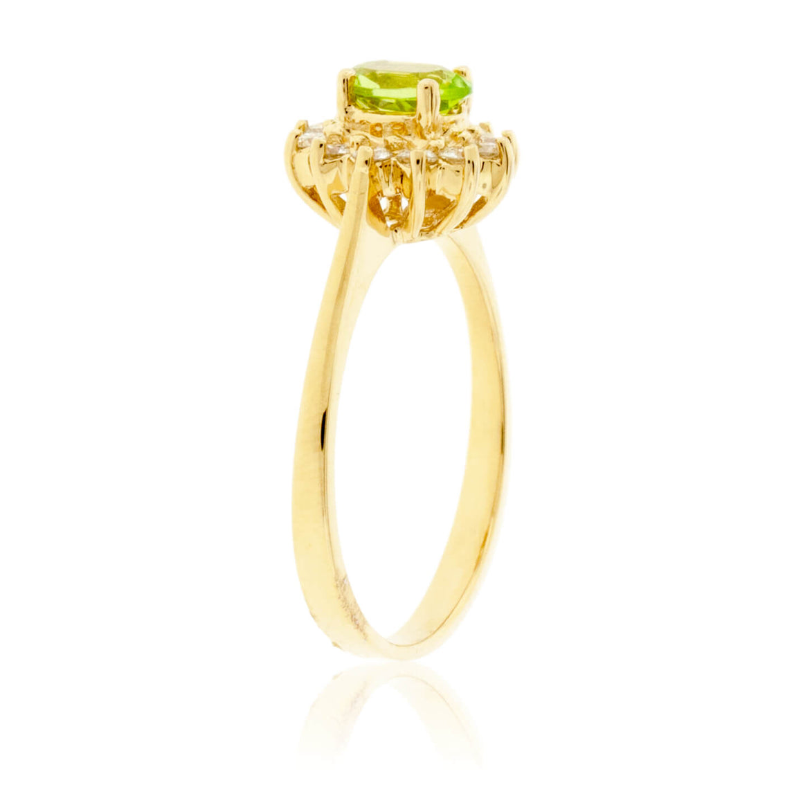 Oval Peridot & Classic Diamond Halo Ring