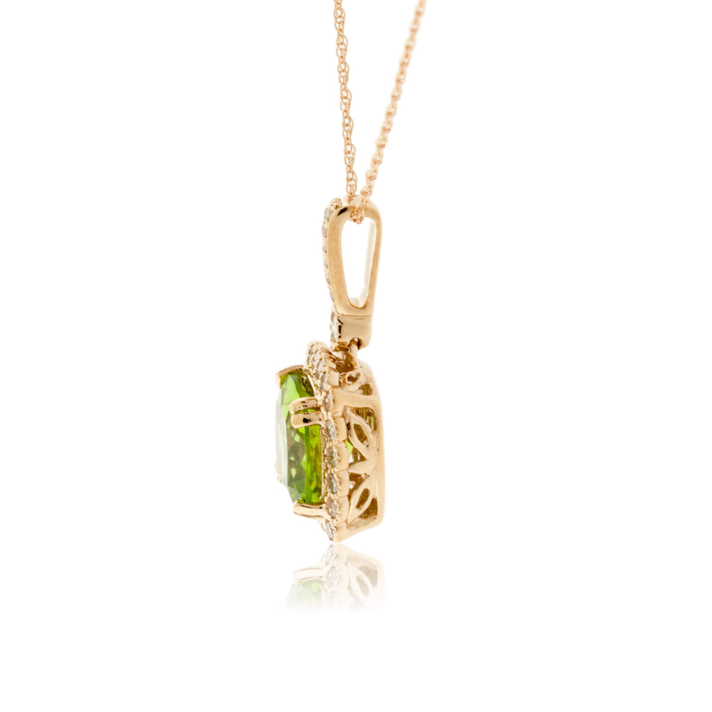 Cushion Cut Peridot & Milgrain Style Diamond Halo Pendant