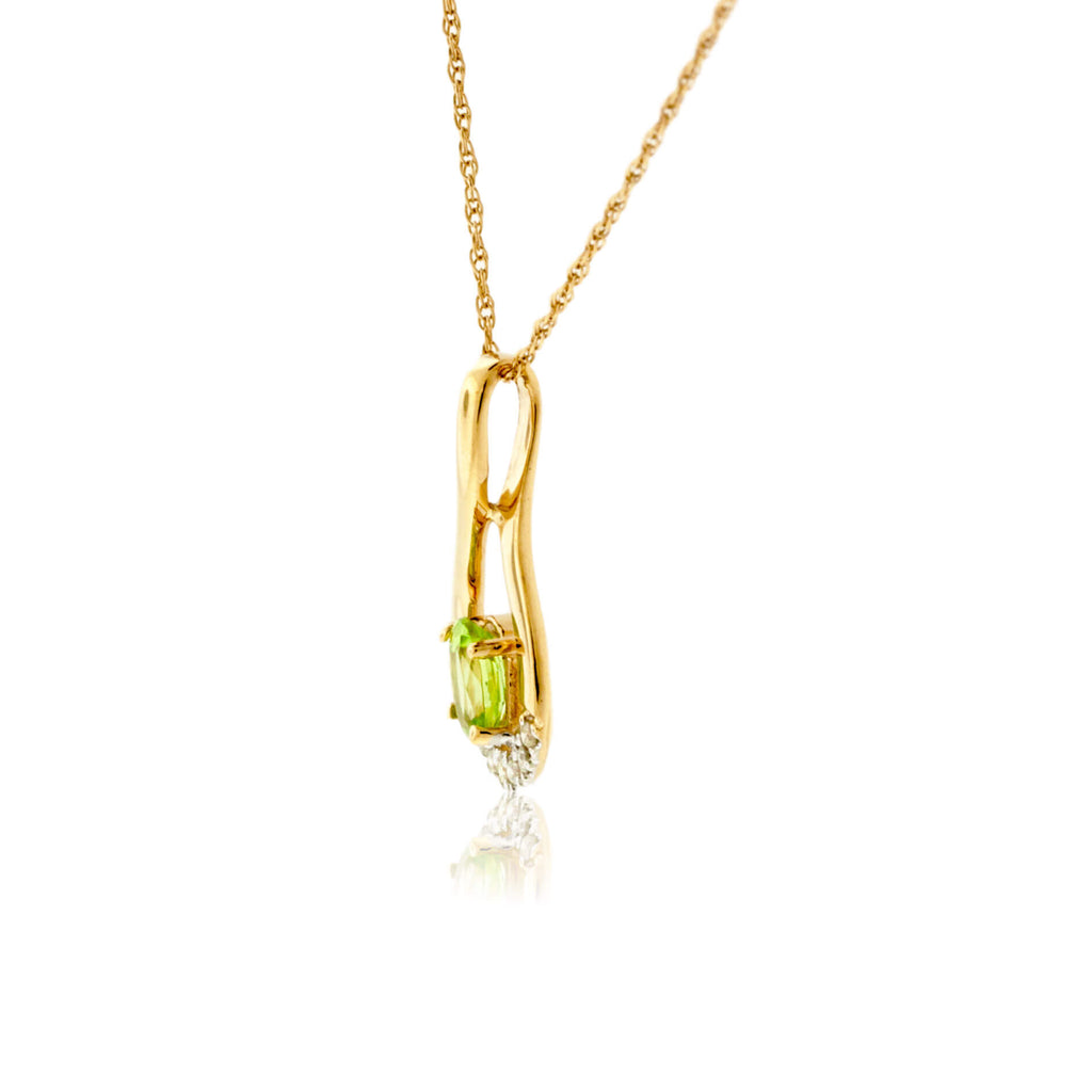 Oval Peridot and Diamond Drop Pendant