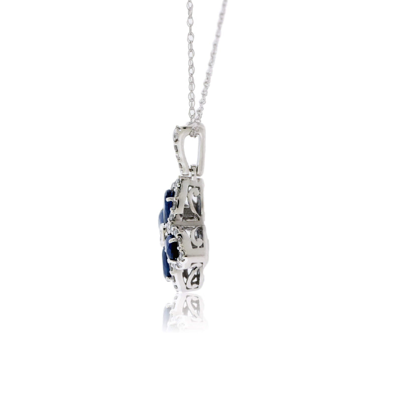 Blue Sapphire Chandelier Pendant with Diamond Halos
