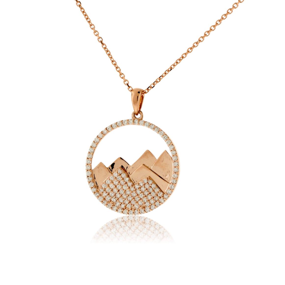 Diamond Mountain Silhouette in Circle Necklace